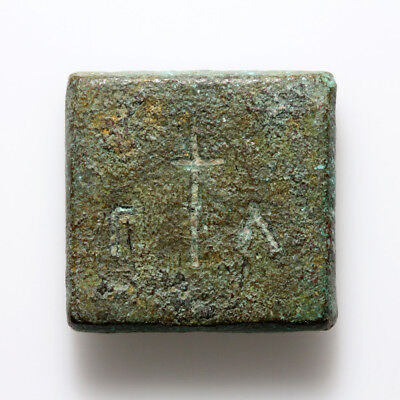 Byzantine Bronze Square Weight N Γ In & Cross In Temple Γ Α ,circa 500-700 Ad
