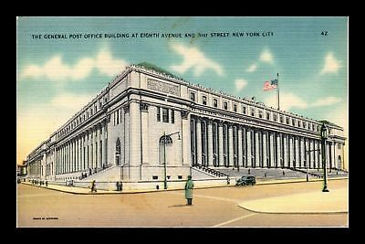 Dr Jim Stamps Us General Post Office Building New York City Linen Postcard