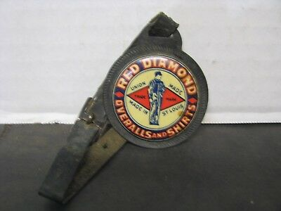Red Diamond Overalls and Shirts celluloid advertising Watch Fob