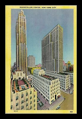 Dr Jim Stamps Us Rockefeller Center New York City Linen View Postcard