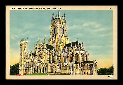 Dr Jim Stamps Us Cathedral St John The Divine New York City Linen View Postcard