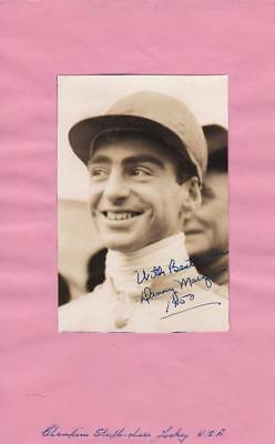 Danny MARZANI Horse Racing Jockey signed 1950 vintage Photo AFTAL