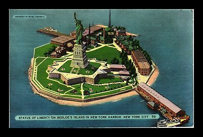 Dr Jim Stamps Us Statue Of Liberty Bedloes Island New York Harbor Linen Postcard