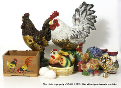 LOT ROOSTER THEMED Fitz & Floyd FIGURINE, SALE & PEPPER SHAKERS, EGG CODDLER