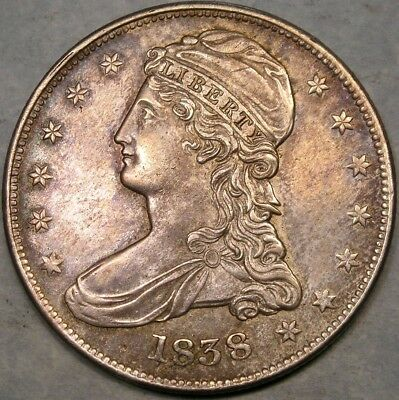 1838 Capped Bust Reeded Edge Silver Half Dollar Crisp Appealing Colorful Toning