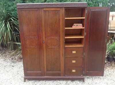Antique 1920's Solid Mahogany Wardrobe Armoire & Campaign Drawers Quality!! Chic
