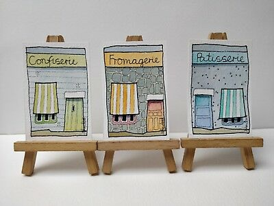 3 Original Watercolour Paintings ACEO - Shopping