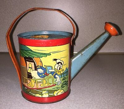 1938 Donald Duck Watering Can Ohio Art Tin Litho Sand Toy