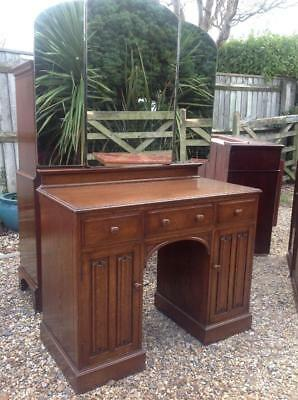 Vintage 1930's Solid Oak Dressing Table Priory Style Superb Quality Rustic Chic