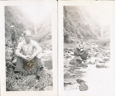 WWII 1944-5 Trip Down to Hana, Maui Hawaii  NASP sailor 2 photos me at waterfall