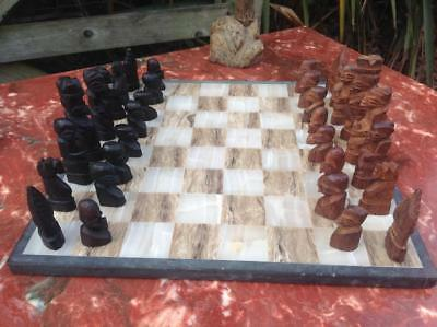 Vintage Mid Century Chess Set Marble Base African Carved Teak Pieces Modernist