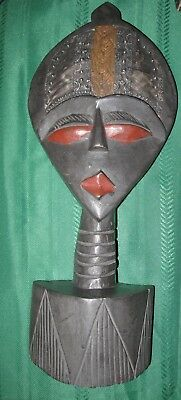 Ghana Africa Tribal Mask Handcrafted Carved Wood Sculpture African Decor