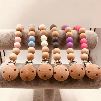 Personalised Infant Wooden Beaded Pacifier Clip Teether Dummy Strap Chain New