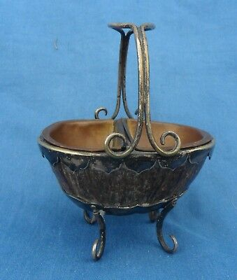 Unusual Antique Coconut Shell & Silver Plated Salts?