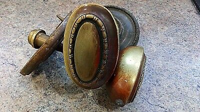 Antique large heavy brass oval door handles knobs with back plates Centre pull