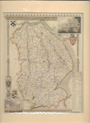 Rare vintage map of Lincolnshire 1840-43 mounted ready for framing vgc