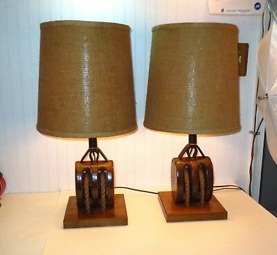 Vintage PAIR Ship Boston & Lockport Iron & Wooden Pulley Block & Tackle Lamps