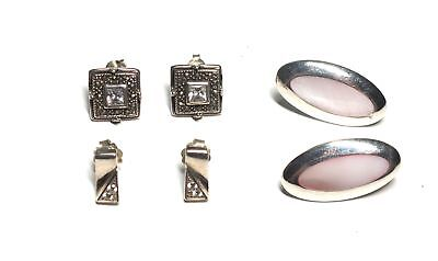 925 STL /SILVER TONE Pink Shell, Square/Rectangle Clear Earrings,14.51g - Y96