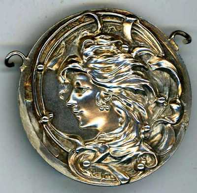 ART NOUVEAU SILVER BELT ROUNDEL HALLMARKED FOR either 1899 LONDON or BIRM. 1903