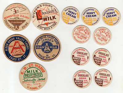 13 Unused Vermont Cardboard Milk Bottle Caps And 1 More From Ricker's Dairy