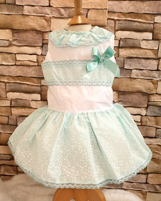 DREAM  PINK FLORAL SPANISH PUFFBALL SS19 DRESS 0-7 YEARS OR REBORN DOLLS