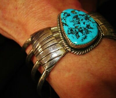 NAVAJO STUNNING BRACELET- Turquoise Traditional Old Vintage Cuff,Sterling Silver