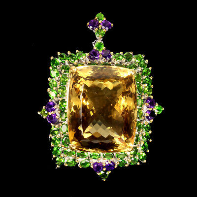 Handmade 99.1ct Antique 30x24mm Aaa Citrine Diopside 925 Silver Pendant Brooch