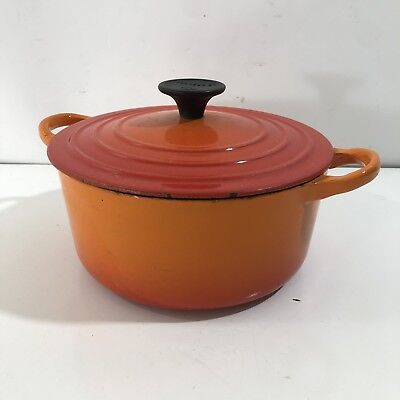 Vintage Le Creuset B Dutch Oven 2 QT Flame Orange Red Enamel Cast Iron Lid Pot