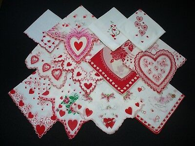 Lot of 12 Vintage Valentine Hankies Handkerchiefs VG Condition Lot C