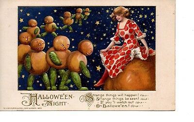 Halloween Postcard ~ Winsch ~1913 ~ Marching Pumpkins From Space ~ Jol ~ H4