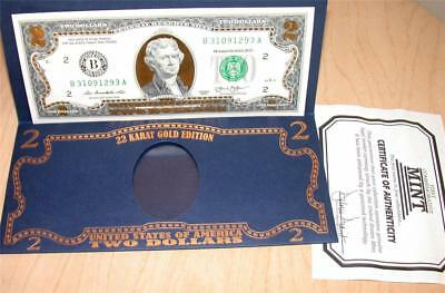 2013 $2.00 Two Dollar 22K Gold Edition Currency Note Bill UNC Uncirculated