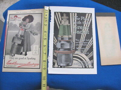 Vintage RED HEAD + SPLITDORF spark plug advertisements, CHAMPION spark plug PAD