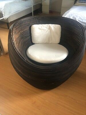 Set of 2 Bali rattan/bamboo/wicker type chairs / white cushions