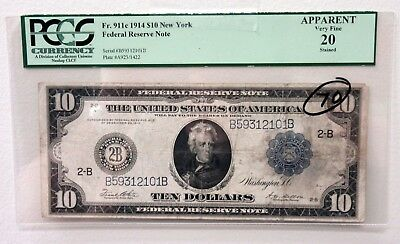 US Federal Reserve Note FRN $10, 1914 New York PCGS VF 20 Handling Toned FR#911c