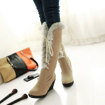 Women Fur Trim Knee High Boots Wedge Heels Lace up Platform Cute Shoes Winter