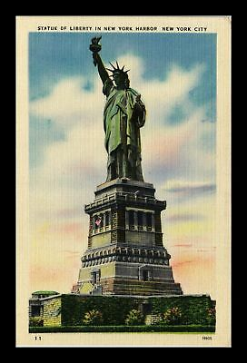Dr Jim Stamps Us Statue Of Liberty New York Harbor New York City Linen Postcard