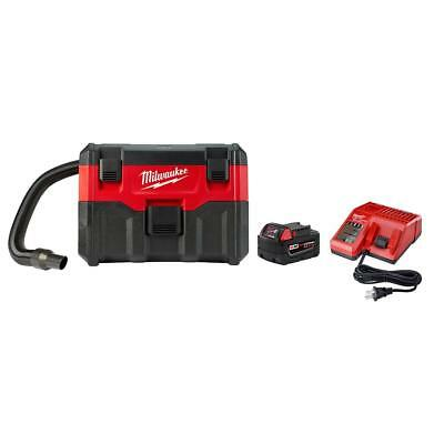 Milwaukee 18V Cordless 2 Gal. Wet/Dry Vacuum W (1) 5.0Ah Battery And Charger