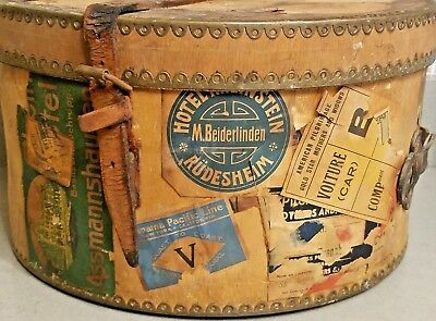 Vintage Hat Box Travel Case Wood/Brass/Leather Hotel Luggage/Baggage Label Old