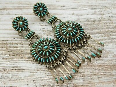 Vtg Old Pawn ZUNI Needle Point TURQUOISE STERLING Silver Dangle Charm EARRINGS
