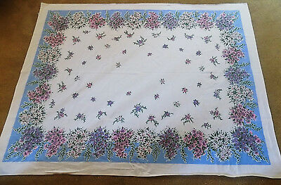Vintage White Cotton Tablecloth with Purple Pink Blue Flowers 50 x 66 Simtex