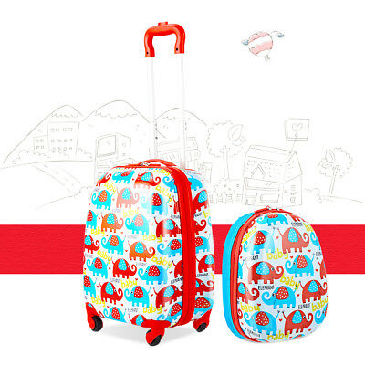 "Giantex 2Pc 12""+16"" Kids Carry On Luggage Set Travel Trolley Travel Suitcase Set"