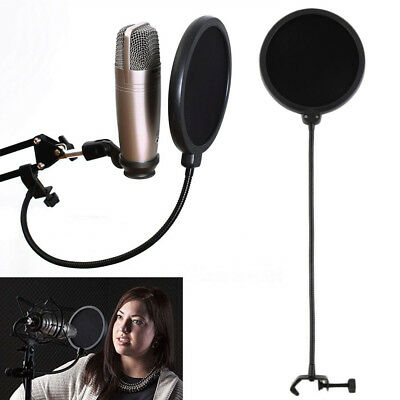 "Black Double-Layer 6"" Microphone Pop Filter Windscreen Mask Shield"