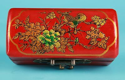 Rare Chinese Red Leather Jewelry Box Painting Flower Birds Decorate Gift Collec
