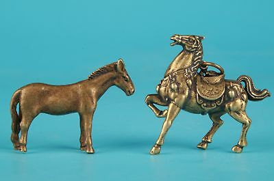 2 Unique Brass Animal Horse Statue Necklace Pendant Suspended Hammer  Figurine