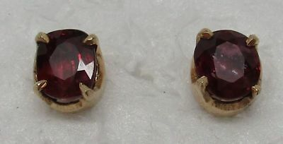 Vintage/Antique SOLID 10K YELLOW GOLD Genuine RUBY Stud Earrings - GORGEOUS!