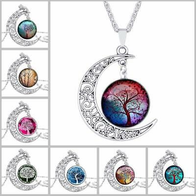 Tree of Life Chakra Gemstone Crystal Chips Stone Reiki Healing Pendant Necklace