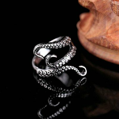 Hot Punk Gothic Adjustable Tibetan Silver Octopus Finger Ring Women Jewelry