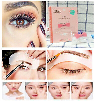 🧡 6 Eyebrow Stencils Shaper Grooming Kit Brow MakeUp Template Tool Reusable 🧡
