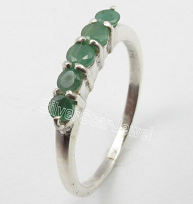925 Solid Silver Low Price ROUND EMERALD 5 STONE WEDDING Ring Any Size 5 to 10
