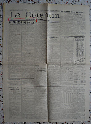 journal LE COTENTIN n°19 12/05/1944 Guerre 39-45 WWII Voiron